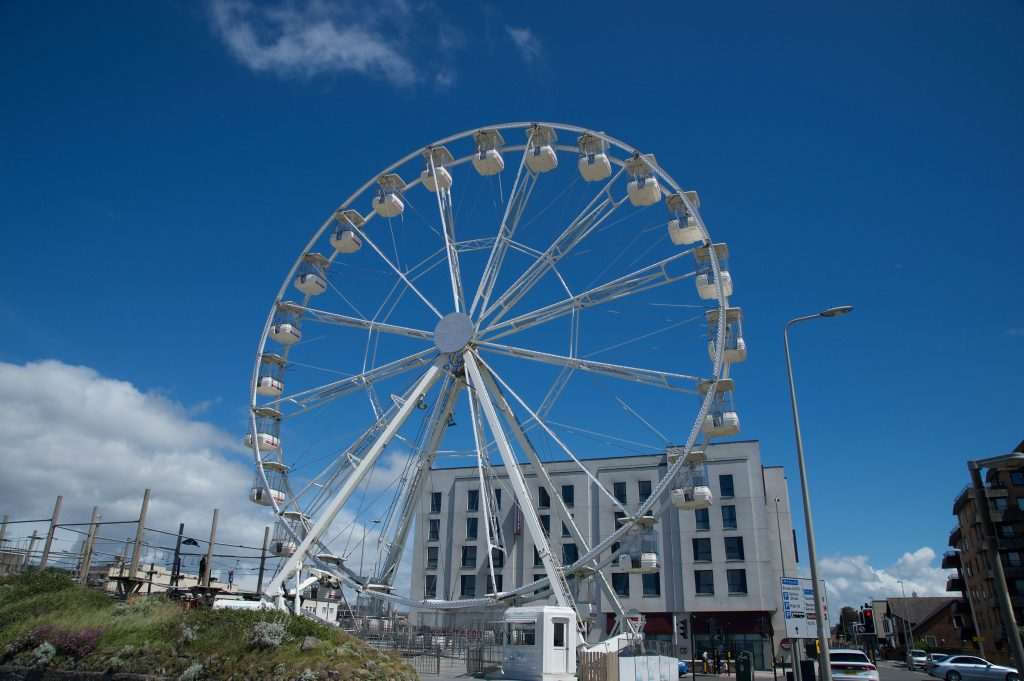 The big wheel at Weston Super Mare against a blue sky